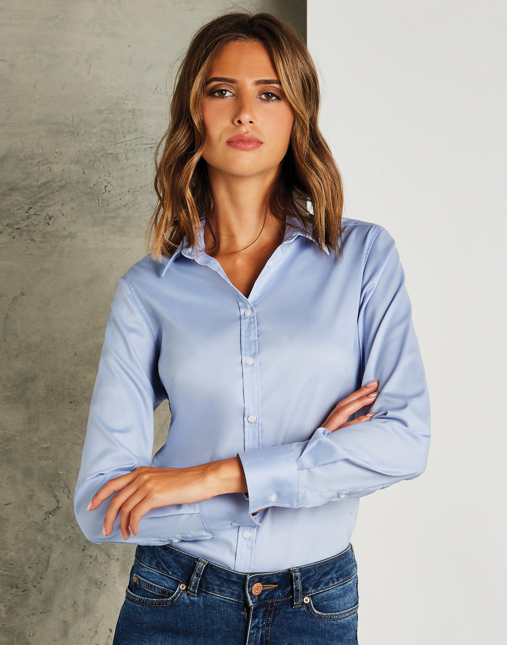 Damska koszula LS Oxford Tailored Fit Stretch